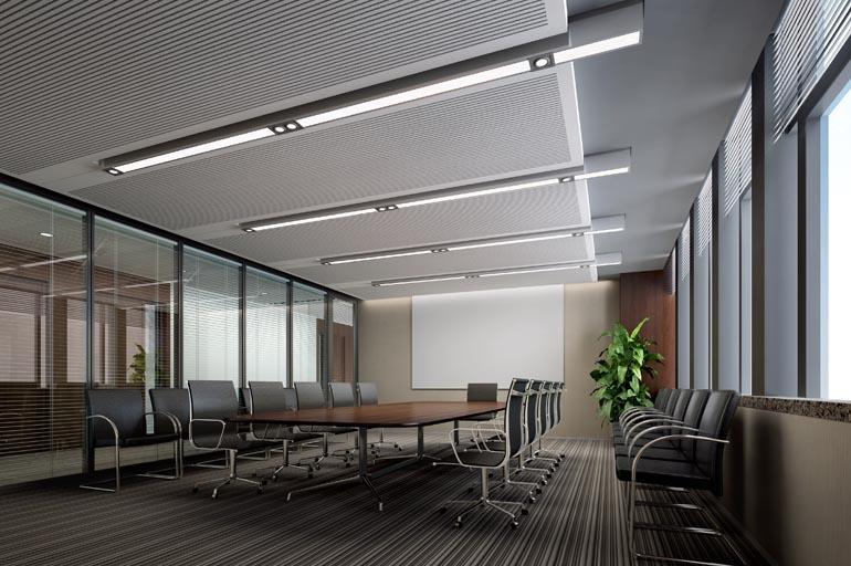 效果与大家分享。  长春净月高新技术服务中心办公室装修设计项目是由深圳建威装饰公司精心设计的,其设计理念采用了白山黑水的寓意,以呼应当地地域的特色。大厅服务台设计隐喻此次设计主题白山黑水, 并通过黑白灰色等三种色调作为主色调突出简洁、高效的办公环境。  会议室的设计采用透明双玻百叶隔断,增加采光的效果,也突出开放式国际范思维。